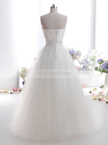 Ivory Wedding Dress,Simple Wedding Dress,Tulle Bridal Dress,A line Wedding Gowns,WD00005