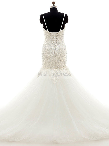 Ivory Wedding Dress,Spaghetti Straps Wedding Dresses,Mermaid Lace Wedding Gown,WD00034