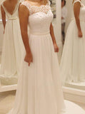 Ivory Wedding Dresses,Chiffon Wedding Dress,Beach Bridal Dress,Boho Bridal Dress,WD00168