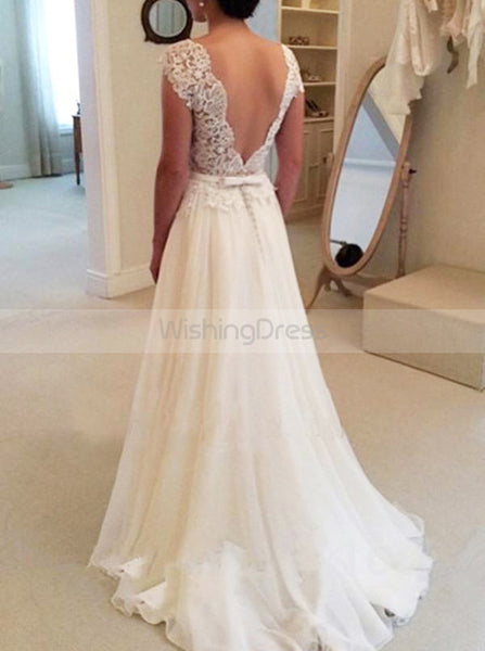 Ivory Wedding Dresses,Chiffon Wedding Dress,Beach Wedding Dress,Backless Bridal Dress,WD00152