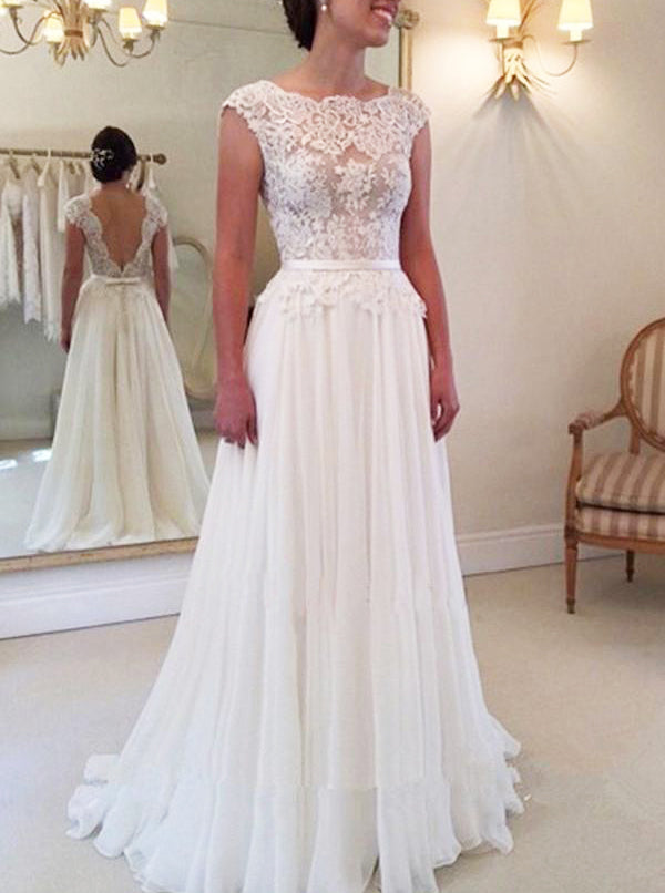 Ivory Wedding Dresses Chiffon Wedding Dress Beach Wedding