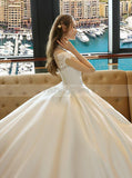 Ivory Wedding Dresses,High Neck Wedding Dress,Satin Wedding Dress,Modest Bridal Gown,WD00135