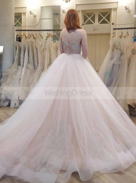 Ivory Wedding Dresses,Tulle Ball Gown Wedding Dress,Wedding Dress with Straps,WD00134