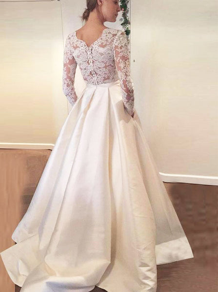 Ivory Wedding Dresses,Wedding Dress with Sleeves,Wedding Dress with Pockets,WD00217