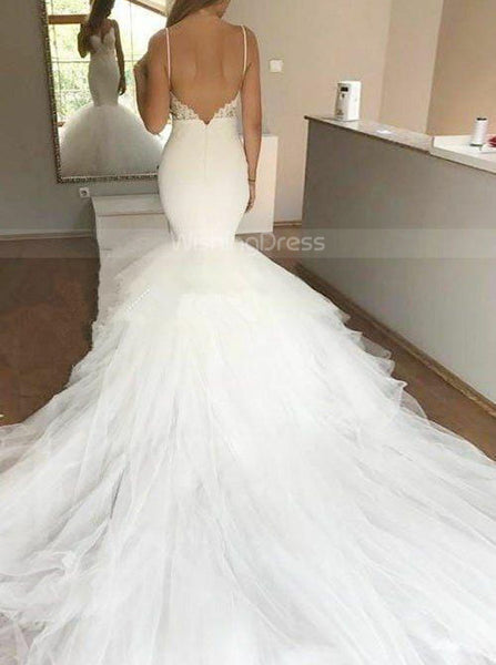 Ivory Wedding Dresses with Straps,Mermaid Bridal Gown with Long Train,WD00338