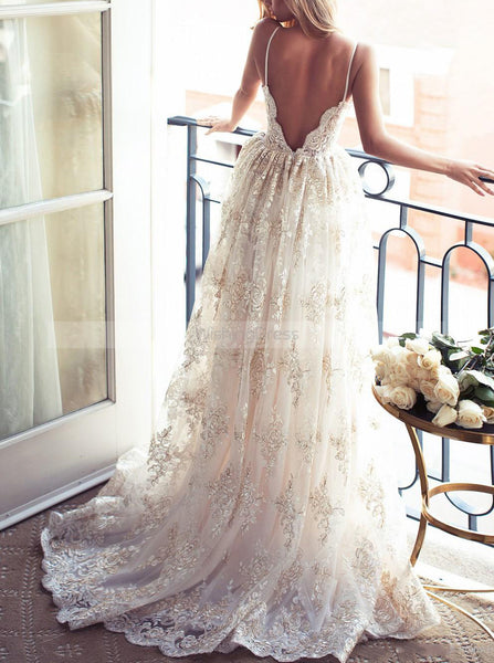 Ivory Wedding Gown,Lace Wedding Dresses,Spaghetti Straps Bridal Dress,WD00071