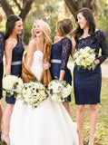 Knee Length Bridesmaid Dress,Lace Dark Navy Bridesmaid Dress,One Shoulder Bridesmaid Dress,BD00009