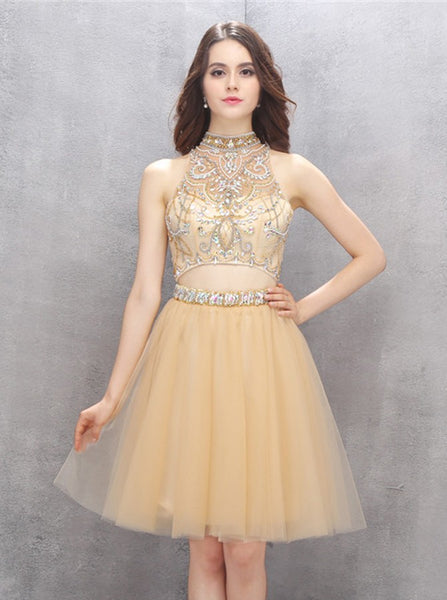 Knee Length Homecoming Dresses,High Neck Homecoming Dress,Two Piece Homecoming Dress,HC00116