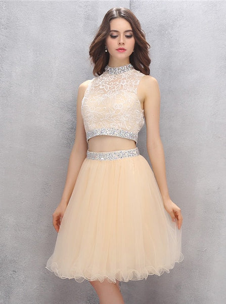 Knee Length Homecoming Dresses,Two Piece Homecoming Dress,High Neck Homecoming Dress,HC00114