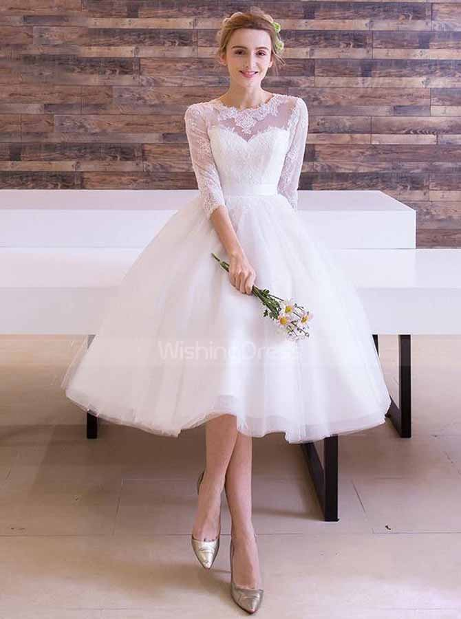 Knee Length Wedding Reception Dresses,Outdoor Wedding Dress with  Sleeves,WD00364