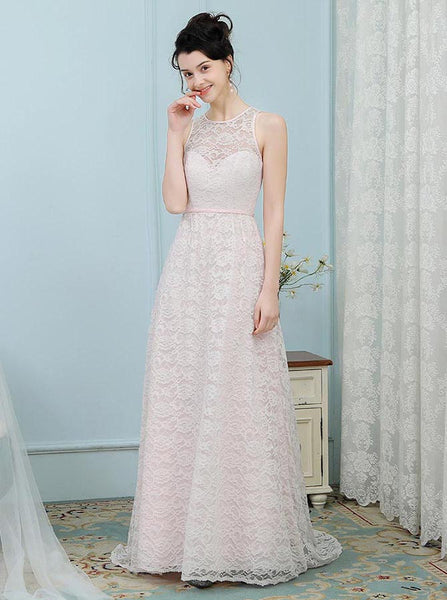 Lace Bridesmaid Dresses,Blush Bridesmaid Dress,Bridesmaid Dress with Train,BD00216