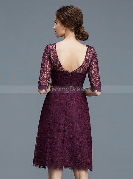 Lace Bridesmaid Dresses,Short Bridesmaid Dress,Bridesmaid Dress with Sleeves,BD00246