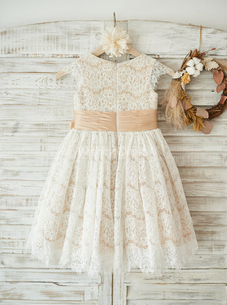 Lace Flower Girl Dresses with Sash,Girl Party Dress,FD00125