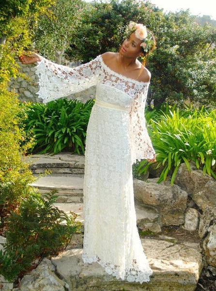 Lace Garden Wedding Dress with Sleeves,Off the Shoulder Long Bridal Dress,WD00331