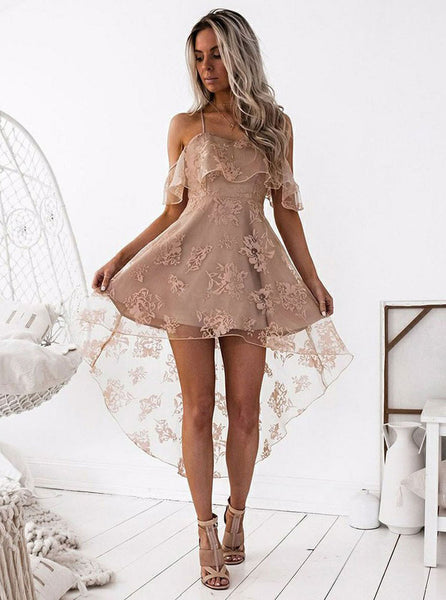 Lace Homecoming Dresses,High Low Homecoming Dress,Spaghetti Straps Homecoming Dress,HC00071