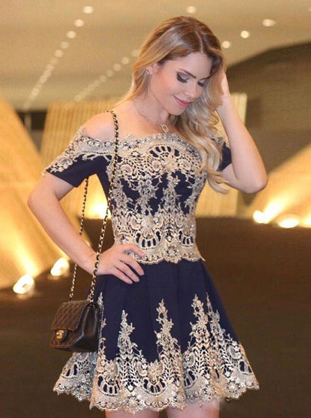 Lace Homecoming Dresses,Homecoming Dress wit Sleeves,Off Shoulder Homecoming Dress,HC00086