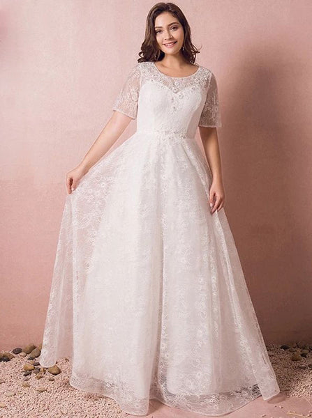 Lace Plus Size Wedding Dresses,Floor Length Plus Size Wedding Dress,WD00320