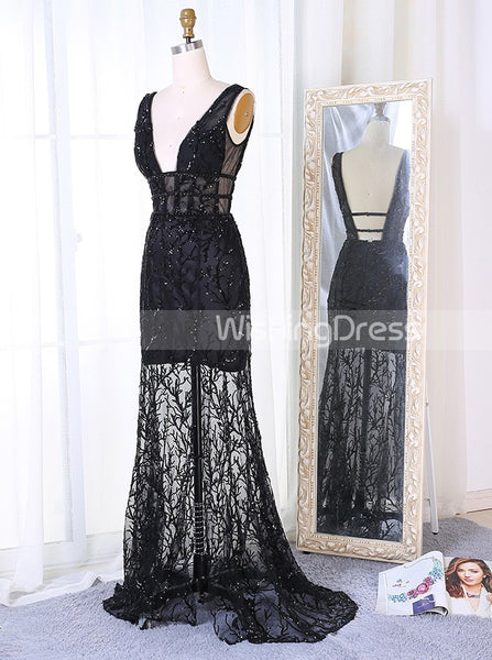Lace Prom Dress,Black Prom Dress,Mermaid Prom Dress,Backless Prom Dress,PD00227