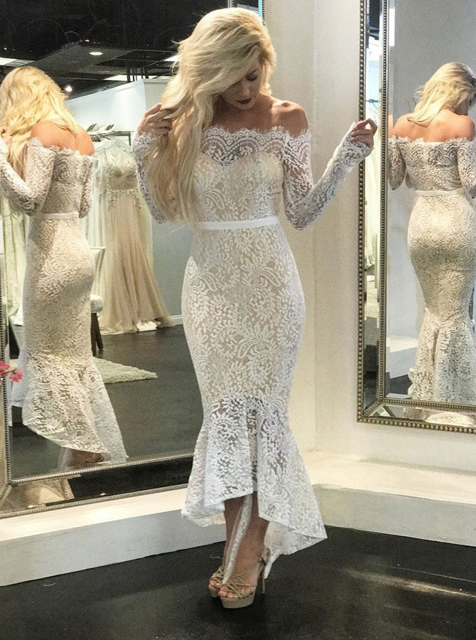 Lace Reception Wedding Dresses With Sleeves Mermaid High Low Wedding D Wishingdress