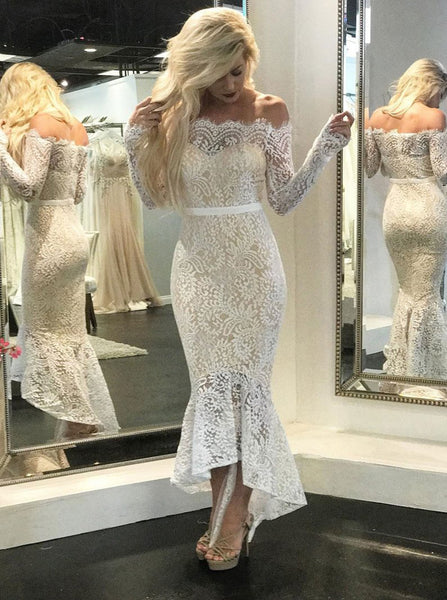 Lace Reception Wedding Dresses with Sleeves,Mermaid High Low Wedding Dress,WD00317