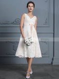 Lace Short Wedding Dresses,Reception Dresses,Beach Wedding Dress,WD00308