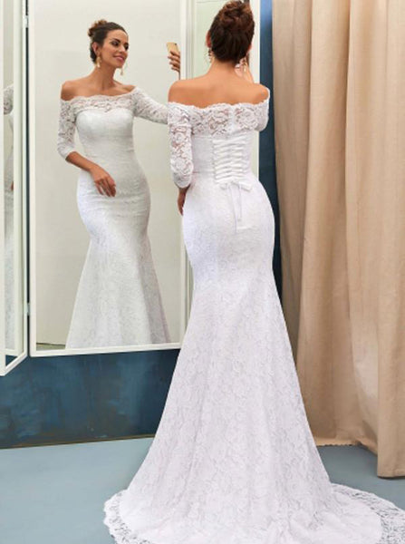 Lace Wedding Dress,Off the Shoulder Bridal Dress,Wedding Dress with Sleeves,WD00195