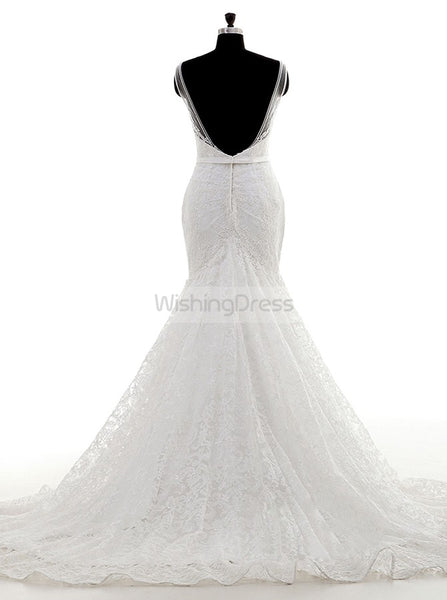 Lace Wedding Dress,Vintage Wedding Dresses,Mermaid Bridal Dress with Straps,WD00049