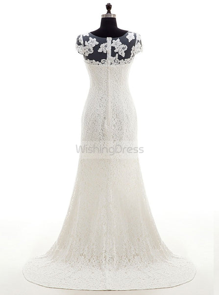 Lace Wedding Dress,Wedding Dress with Cap Sleeves,White Bridal Dress,Romantic Wedding Dress,WD00008