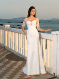 Lace Wedding Dress with Sleeves,Beach Wedding Dress,Off the Shoulder Bridal Dress,WD00274