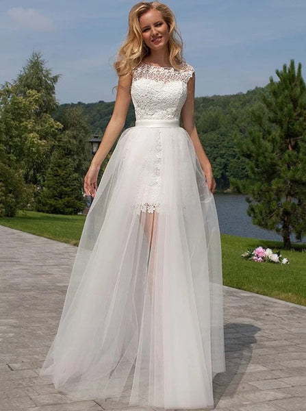 Lace Wedding Dress with Tulle Skirt,Beach Wedding Dress,Informal Wedding Dress,WD00122