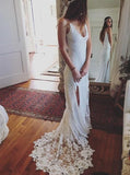 Lace Wedding Dresses,Boho Wedding Dress,Spaghetti Straps Wedding Dresses,Beach Bridal Dress,WD00081