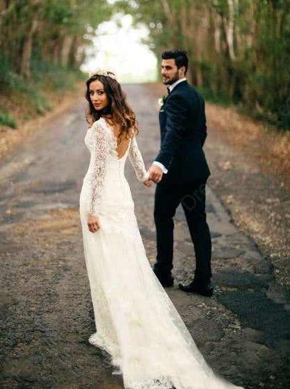 Lace Wedding Dresses,Rustic Wedding Dress,Long Sleeves