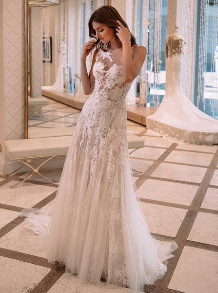 Lace Wedding Dresses,See Through Wedding Dress,Modern Wedding Dress,WD00264