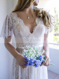 Lace Wedding Dresses,Short Sleeves Wedding Dress,Boho Wedding Dress,WD00099