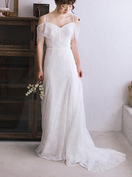 Lace Wedding Dresses with Straps,Romantic Bridal Dress,WD00350