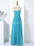Light Blue Bridesmaid Dresses,Ruched Bridesmaid Dress,Full Length Bridesmaid Dress,BD00303