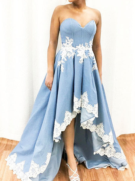 Light Blue High Low Prom Dress,Girl Homecoming Dress,Fashion Evening Party Dress PD00117