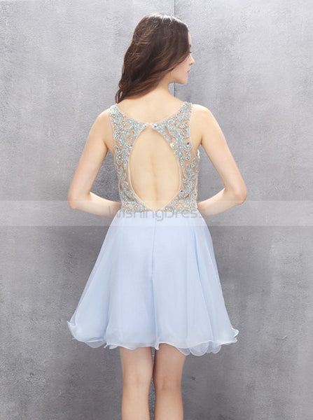 Light Blue Homecoming Dresses,Backless Homecoming Dress,Elegant Homecoming Dress,HC00115