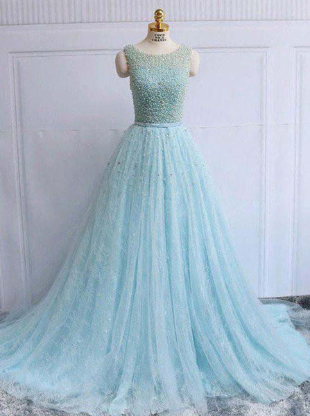 Light Blue Homecoming Dresses,Long Homecoming Dress,Lace Homecoming Dress,HC00150