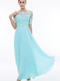 Light Blue Prom Dress,Prom Dress with Short Sleeves,Lace Chiffon Bridesmaid Dress PD00188