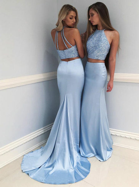 Light Blue Two Piece Prom Dress,Mermaid Long Prom Dress,Elastic Satin Beaded Prom Dress PD00014