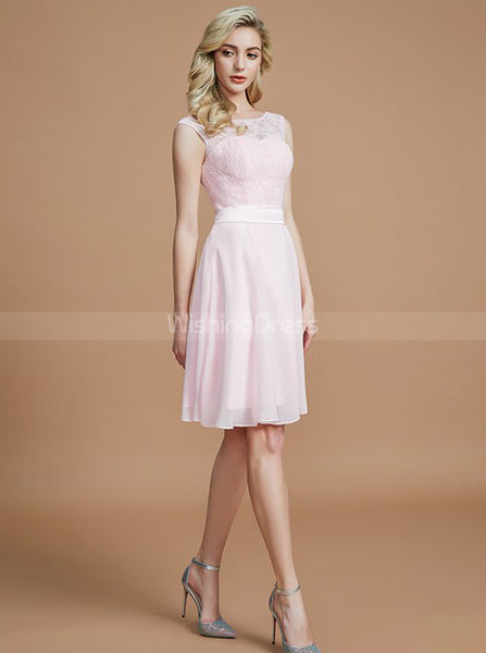 Light Pink Bridesmaid Dresses,Knee Length Bridesmaid Dress,Elegant Bridesmaid Dress,BD00255