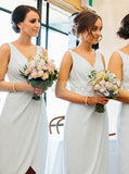 Light SkyBlue Bridesmaid Dress,Asymmetrical Bridesmaid Dress,Chiffon Short Bridesmaid Dress,BD00052
