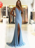 LightBlue Mermaid Chiffon Prom Dress,Evening Dress with Slit,Women Wedding Party Dress PD00120