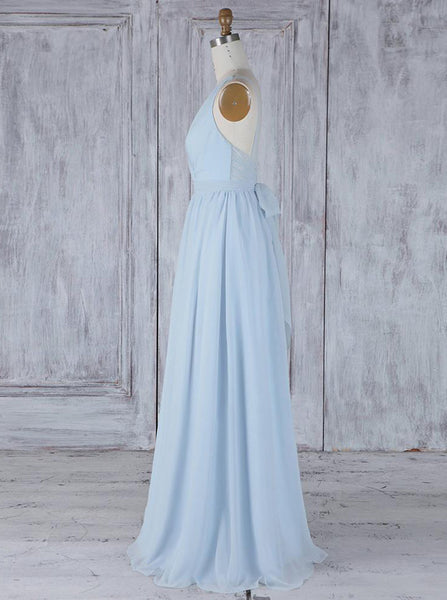 LightSkyBlue Bridesmaid Dresses,Chiffon Bridesmaid Dress,BD00346