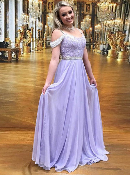 Lilac Chiffon Prom Dress,Beaded Long Prom Dress,Prom Dress for Teens PD00012