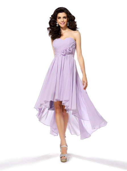 Lilac Homecoming Dresses,High Low Homecoming Dress,Strapless Bridesmaid Dress,HC00156