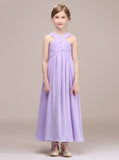 Lilac Junior Bridesmaid Dress,Long Junior Bridesmaid Dress,JB00042