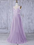 Lilac Long Bridesmaid Dress,Tulle Bridesmaid Dress,V Neck Bridesmaid Dress,BD00054
