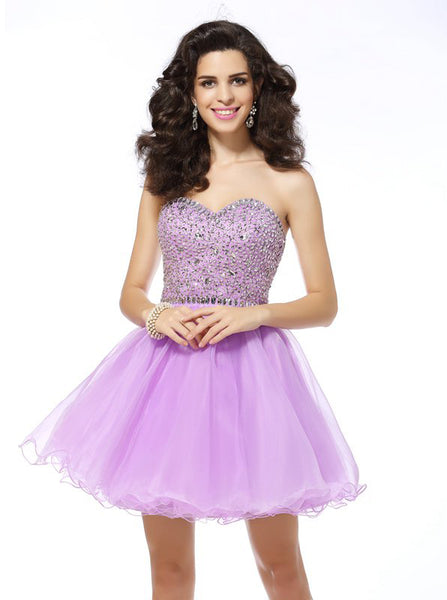 Lilac Sweet 16 Dresses,Sparkly Sweet 16 Dress,Beaded Homecoming Dress,SW00038